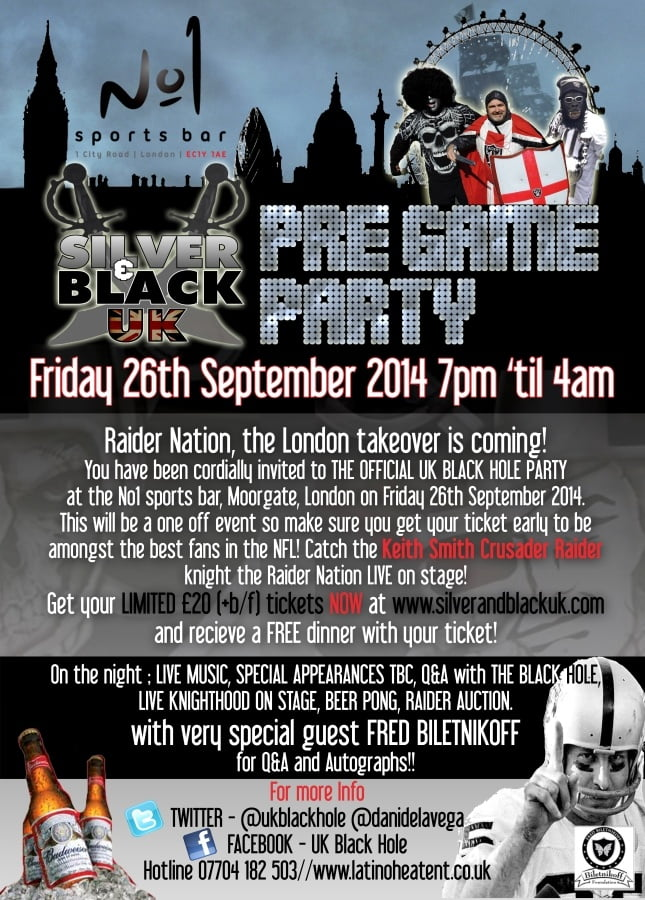 Silver & Blacuk UK Pre Game Party Flyer